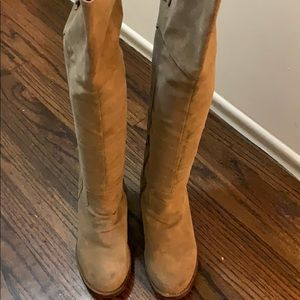 Over The Knee taupe boots w/ buckles